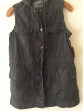 NEW WITH TAGS  MUDD WOMEN'S DARK GRAY KHAKI VEST WITH HOODIE  SIZE S