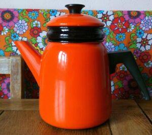Vintage Orange Kockums Enamel ware Coffee Tea Stove top Pot Mid Century retro