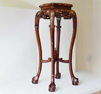 "LARGE 31.9"" Old Chinese Hardwood Art Deco Stand with Oriental mother of pearl"