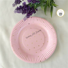 PINK GOLD FOIL POLKADOT PAPER PLATE 18CM 12PK BABY SHOWER PARTY SMALL DESSERT