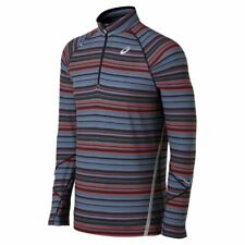Asics THERMOSTRIPE Mens 1/2 Zip Front Running Shirt Size 2XL Grey Red NEW