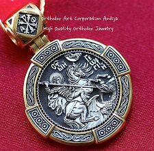 ORTHODOX RUSSIAN PRAYER ROUND PENDANT-SAINT GEORGE WARRIOR,SILVER 925+999 GOLD