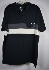 Nike Mens Dri-Fit Polo Shirt Striped SS Top Black XL