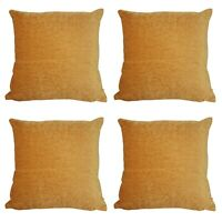 """SET OF 4 - Tiger Orange X-THICK Chenille Quality Fabric Cushion Covers - 18x18"""""""