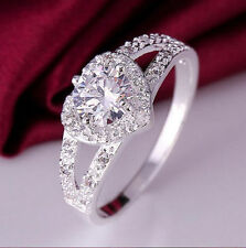 UK Seller Beautiful Bright Silver Plated Crystal Diamond Heart Ring Size 8