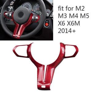 1x Carbon Fiber Steering Wheel Cover Trim Fit For BMW M2 M3 M4 M5 M6 X5M X6M New