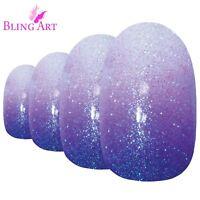 False Nails by Bling Art Purple Gel Ombre Oval Medium Fake Acrylic 24 Tips Glue