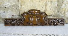 "17""  Antique French Hand Carved Wood Solid Walnut Pediment"