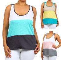New Women's 100% Cotton Sleeveless Summer Colorblock Racerback Tank Top