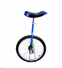 "20"" Wheel Unicycle Cycling Exercise 1.75"" Tire Adjustable Height Chrome Blue"