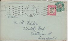 (V2-119) 1939 South Africa 11/2d PO Duran letter to Liverpool (tatty) used (DM)