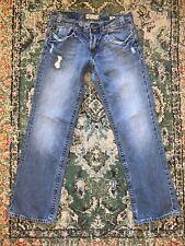 20K- MEK DENIM mens SZ 34x 34 dark acid wash MUNICH boot cut denim jeans