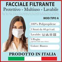 3 PZ FILTRANTI LAVABILI IN TNT 3 STRATI E 3 PIEGHE COLORE BIANCO MADE IN ITALY