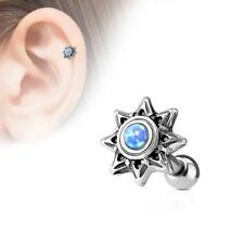 316L Surgical Steel Cartilage/Tragus Stud Barbell with Aqua Opal Set Tribal Sun