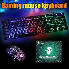 Gaming Tastatur Keyboard 2400DPI Maus Set RGB LED Mechanisch USB für PC Laptop
