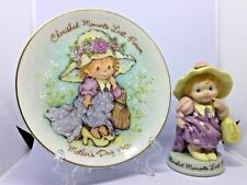 "Vtg! Avon ""Cherished Moments Last Forever"" Mini Plate w/Stand & Small Figurine"