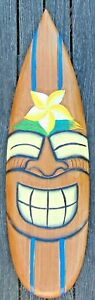 Surfboard wall hanging Hand Carved painted wooden Smiley face Tiki ornament 60cm