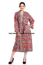 Ladies Wrap Kimono 100% Cotton Block Floral Printed Robe Womens Dressing Gown