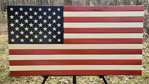 American Flag Wooden Rustic Handcrafted Large 19.5x37""
