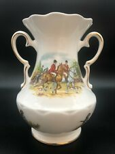 More details for royal tara vintage vase urn china fox hunting scene horses hounds dogs