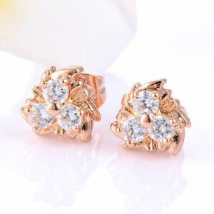 Beautiful Rose Gold Filled 3 Clear Crystal CZ 10mm Stud Post Pierced Earrings