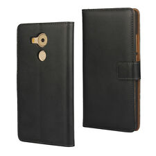 Black Genuine Leather Business Wallet Card Case Cover Stand for Huawei Mate 8