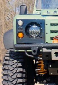 "Land Rover Defender LED Headlight Pair (2 Lights) 7"" Round Black Bezel"