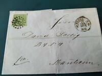 """Bayern Kreuzer-Brief 9 Kr. 5dIII BPP geprüft/oMR """"356"""" Nürnberg -  Mannheim 1862"""