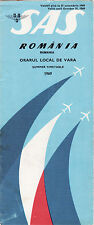 Vintage Aviation Scandinavian Airlines Summer Timetable for Rumania 1969  Rare