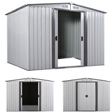 8' x 8' Shed Storage Kit Metal Garden Building Doors Steel Outdoor DIY Backyard