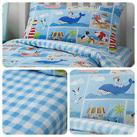 Bedlam Patch Seaside Childrens Bedding - Kids Duvet Cover Set Fitted Sheet -Blue