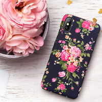 iPhone XS X 8 7 6 6s Plus Flower Pattern Hard PC Shockproof Case Cover For Apple