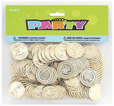 144 GOLD COINS Pirate Party Treasure Plastic Loot Bag Toys Fillers Childrens Fun