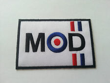 VESPA / LAMBRETTA SCOOTER RALLY MOD SEW / IRON ON PATCH:- MOD (a) WHITE BLOCK