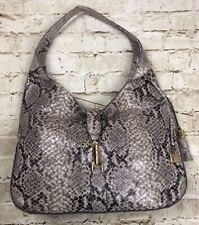 GILI Snake Skin Print Leather Hobo Verona Large Women's Purse Handbag Tassel