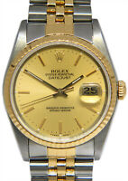 Rolex Datejust 18k YG/Steel Champagne Dial Mens 36mm Watch Box/Papers E 16233