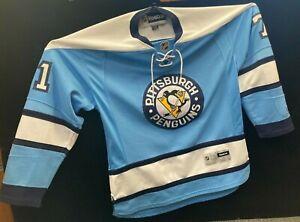 Reebok Pittsburgh Penguins NO.71 Evgeni Malkin Men's Jersey (Light Blue Authenti