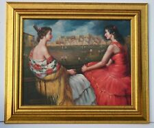"* 20""x16"" Framed Oil Painting on Canvas, Spanish Ladies"