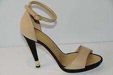 $1035 NEW CHANEL Beige Light Gold Black Heels Platform SANDALS SHOES bag 40 9.5