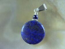 Edler runder 20 mm Lapis Lazuli Button Ketten Anhänger m.Edelstahl Schlaufe