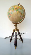 "Vintage 12"" Replogle World Classic Series Globe w/ Tripod stand Raised Relief"