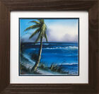 "Bob Ross ""Waves in Tropics"" Happy Trees CUSTOM FRAMED ART Nature Print Palm Wave"