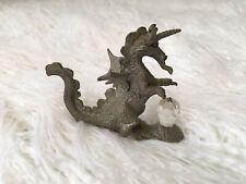 Pewter Dragon Pegasus w/ Crystal 1988  Spoontiques Vintage Medieval Fantasy