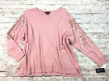 INC Womens Sweater 2x Pink Wool Cashmere Blend Sequin Sleeve Plus Size Side Slit