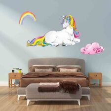 Unicorn Wall Stickers Rainbow Kids Girls Room Stars Nursery DIY Decor Adorable