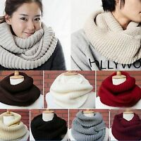 Women Wool Knit Winter Warm Knitted Neck Circle Cowl Snood Scarf Hot