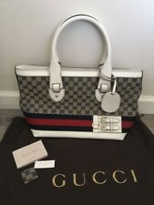 227cabdd73a031 New Auth Gucci Navy/White/Red Signature GG Canvas/Leather Heritage Web Tote