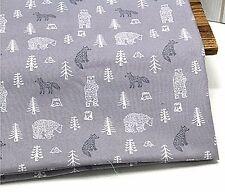 Fox y Oso remanente de la tela de algodón 100% 110cm X 22.5cm Gris Guateado recortes de G