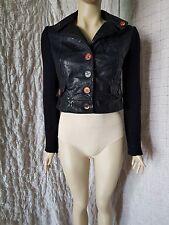 SAVE THE QUEEN en simili cuir noir look Cropped Veste avec tricot manches sz. S