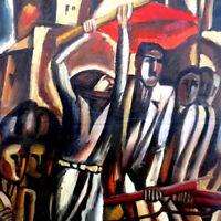 62 SOVIET REVOLUTION Woman- Red Flag RUSSIAN Socialist Realism Painting ARMENIAN